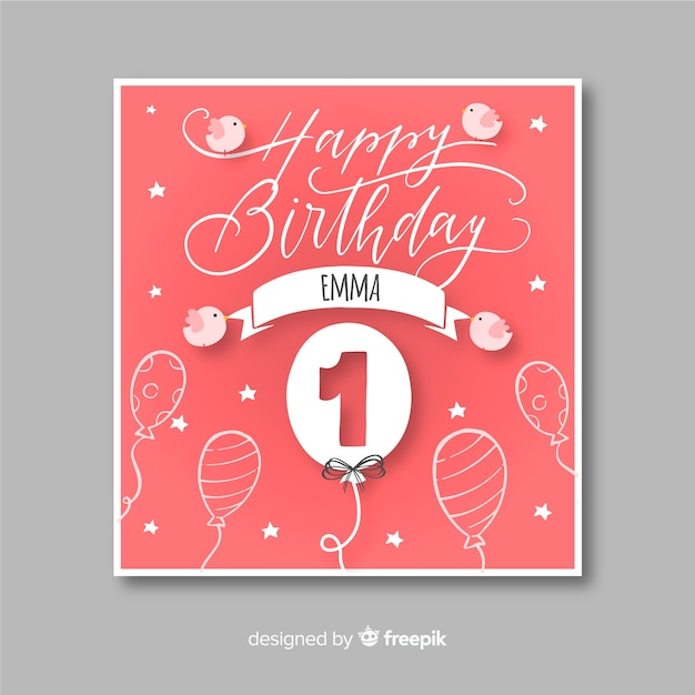 Creative First Birthday Card Template Vector