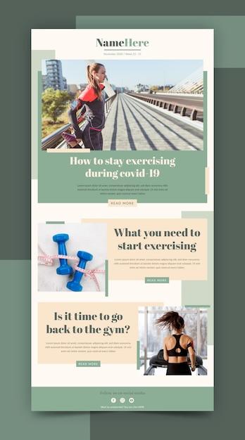 Modello di email fitness creativo con foto Vettore gratuito