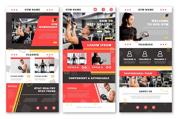 Creative fitness email template Free Vector