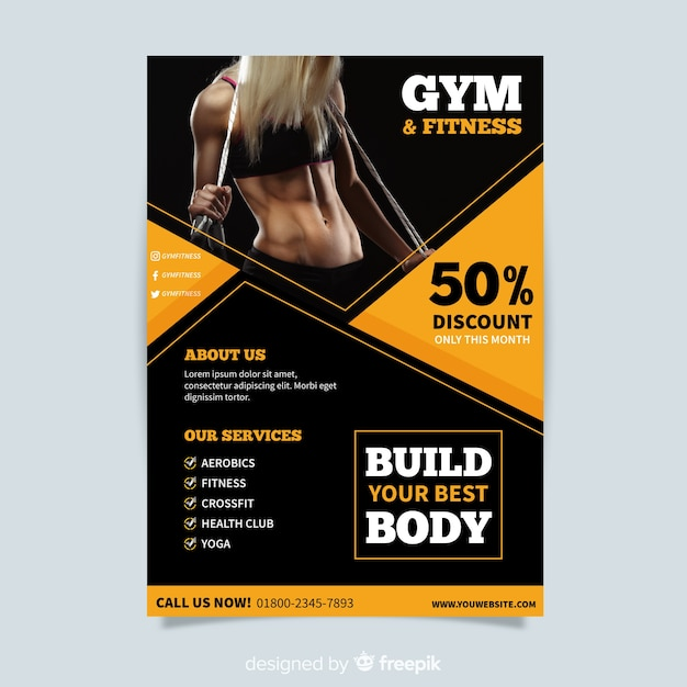 Creative Fitness Flyer Template Design Free Vector
