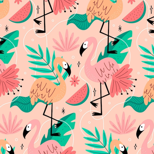 Creative flamingos pattern with tropical leaves Premium Vector