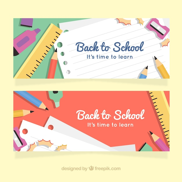Creative flat back to school banners