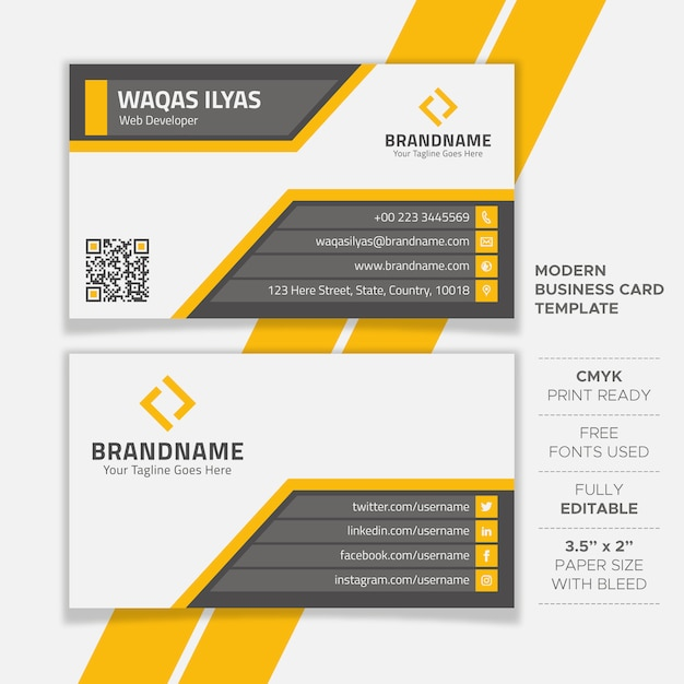 Creative flat business card template Premium Vector