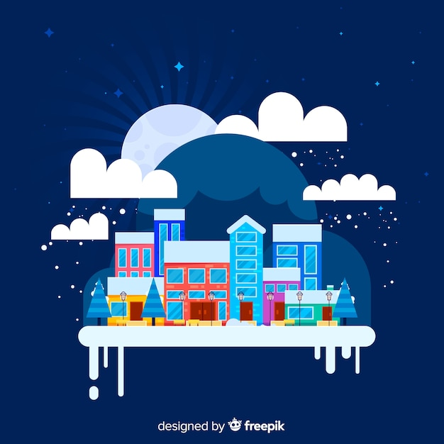 Creative flat christmas town background Free Vector