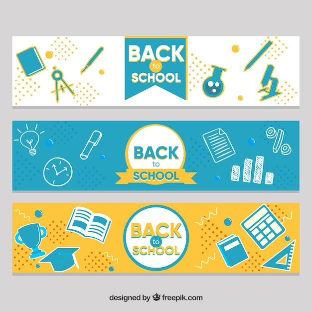 Creative flat design back to school banners