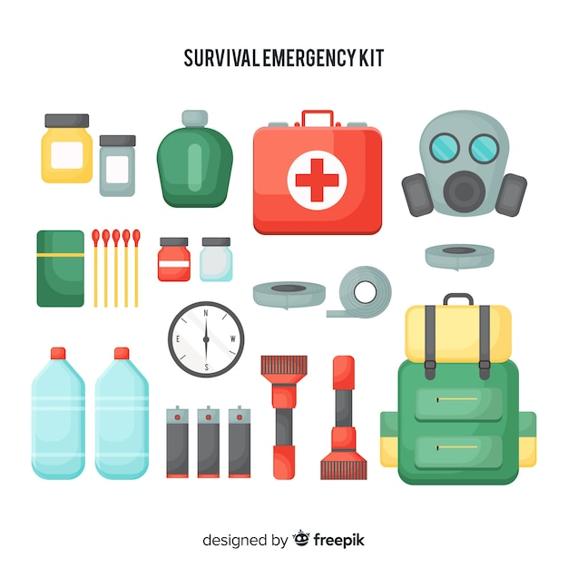 Creative flat emergency survival kit Free Vector
