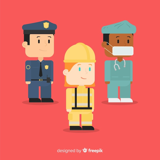 Creative flat emergency team Free Vector