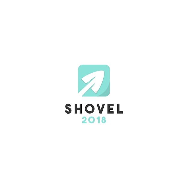 Креативный дизайн логотипа плоской лопаты Premium векторы