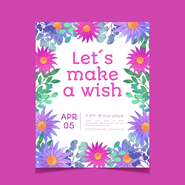 創造的な花の誕生日カードテンプレート 無料ベクター