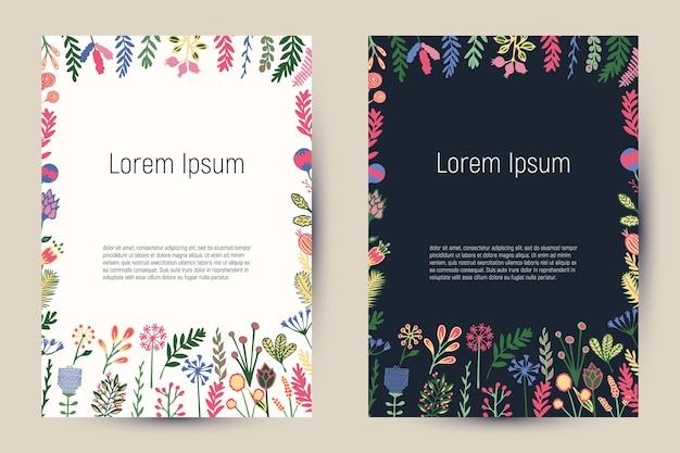 花や植物が咲くクリエイティブなフローラルカード。チラシ、バナー、ポスター、招待状、パンフレット、社説などのビンテージテンプレートの背景。 Premiumベクター