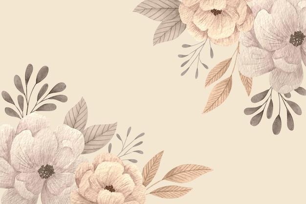 빈 공간을 가진 창조적 인 꽃 무늬 벽지 프리미엄 벡터