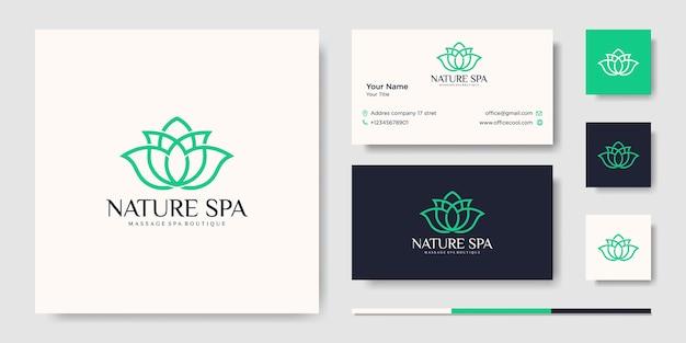 創造的な花のインスピレーションベクトル線画ロゴデザインテンプレートと名刺 Premiumベクター