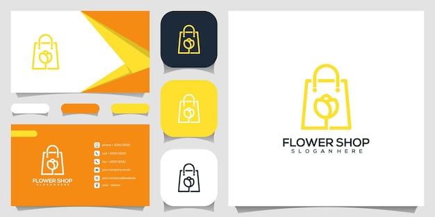 크리 에이 티브 꽃 가게, Flowerl 로고 디자인 템플릿과 결합 된 가방 프리미엄 벡터