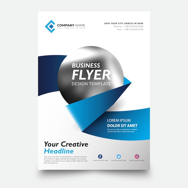 Creative flyer template, with creative ribbon and circle Premium Vector