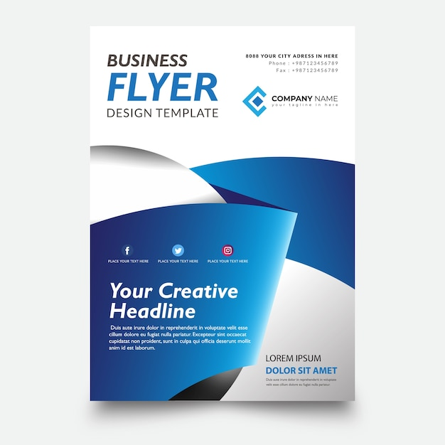 Creative flyer template, with ribbon blue background design Premium Vector