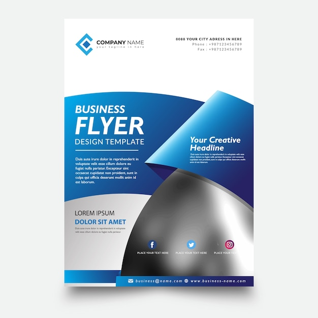 Creative flyer template, with ribbon blue background Premium Vector