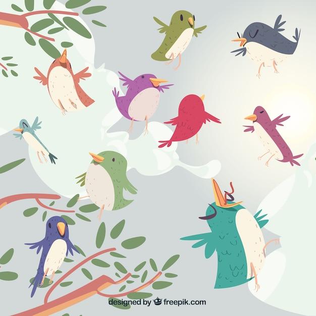 Creative flying birds background