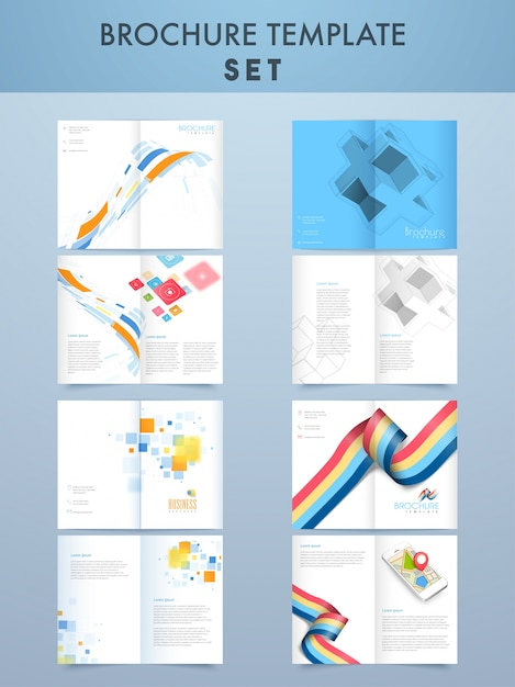 Creative Four Pages Brochure Template Set For Business Vector - Brochure template for pages