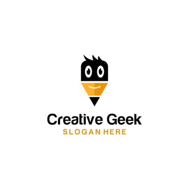 Creative geek logo pencil Premium Vector