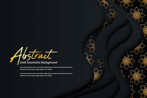 Creative geometric dark background with golden abstract pattern shape Premium Vector