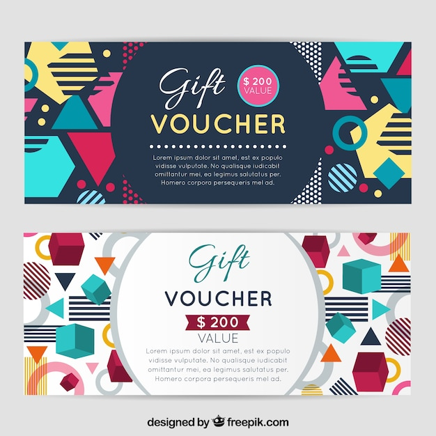creative gift vouchers with abstract shapes vector free download