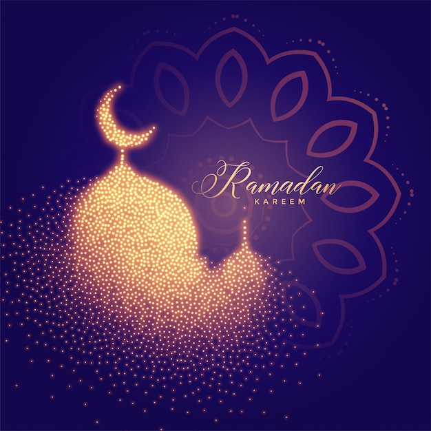 Creative glowing mosque Free Vector