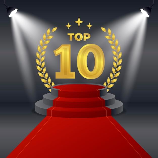 Creative golden top ten best podium award Free Vector