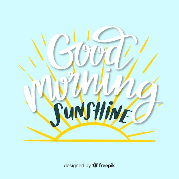 Creative good morning lettering background Free Vector