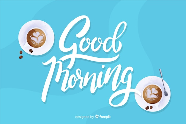 Creative good morning lettering background Premium Vector