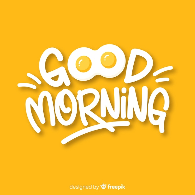 Creative good morning lettering illustration Premium Vector