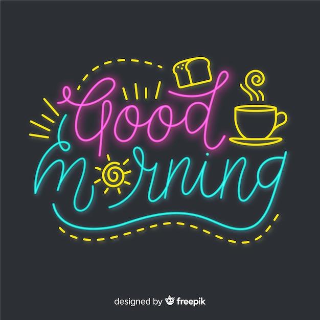 Creative good morning lettering illustration Free Vector