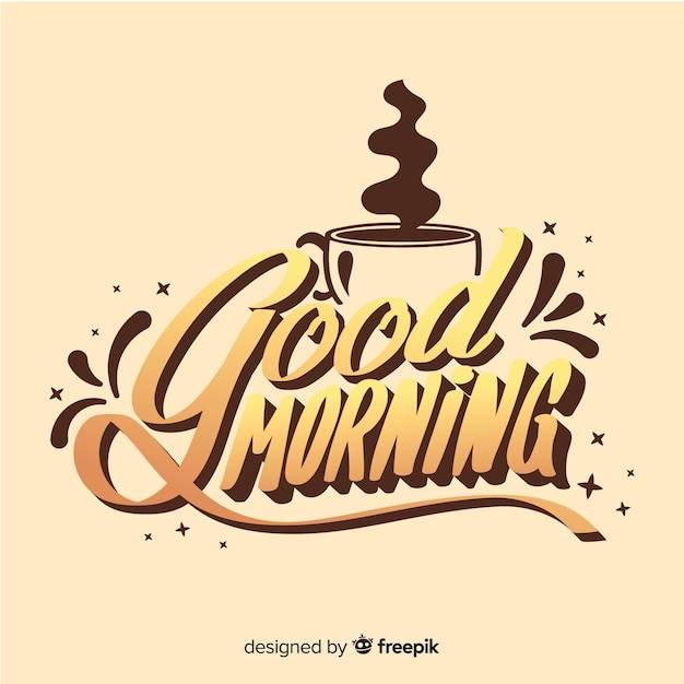 Creative good morning lettering illustration Free Vector