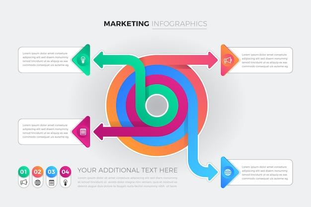 크리 에이 티브 그라데이션 마케팅 인포 그래픽 프리미엄 벡터