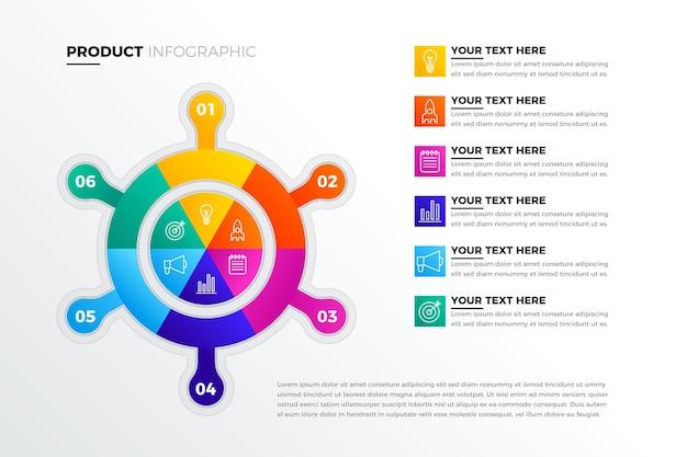 크리에이티브 그라데이션 제품 인포 그래픽 무료 벡터
