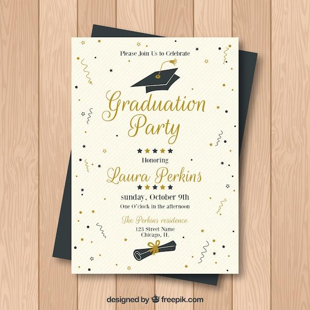 Creative graduation party invitation Free Vector
