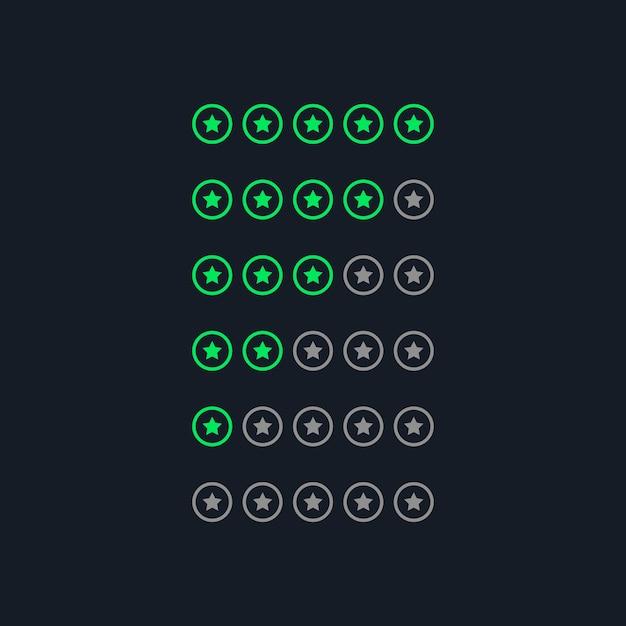 Creative green neon style star rating symbols Free Vector