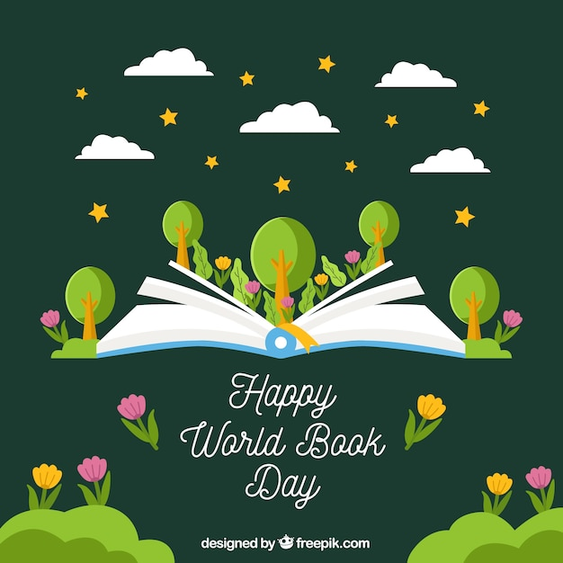 Creative green world book day background Free Vector