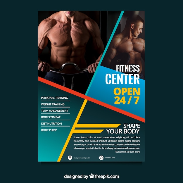 Free Fitness Gym Flyer Template Psd Files And Free Church: Creative Gym Flyer Template Vector