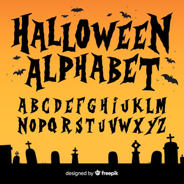 Creative halloween alphabet set Free Vector