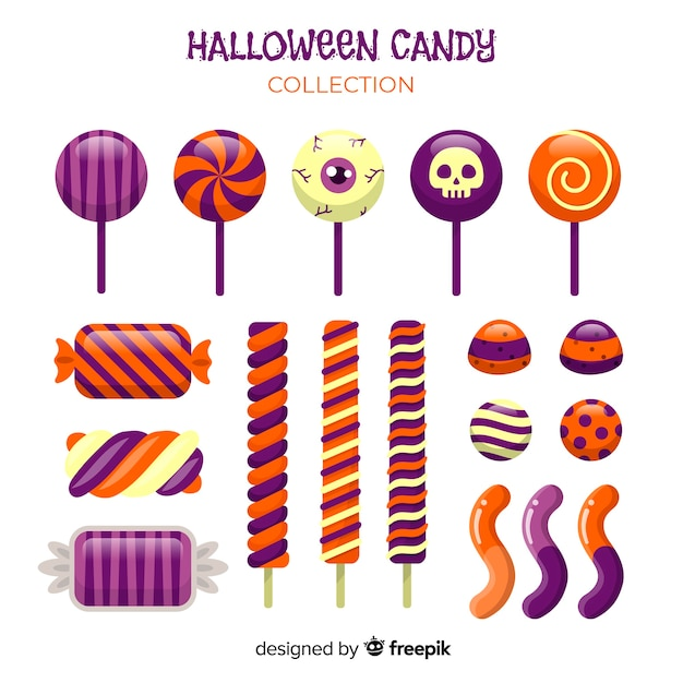 Creative halloween candy collection Free Vector