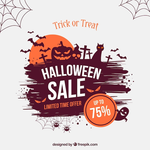 Creative Halloween Sale Background Free Vector