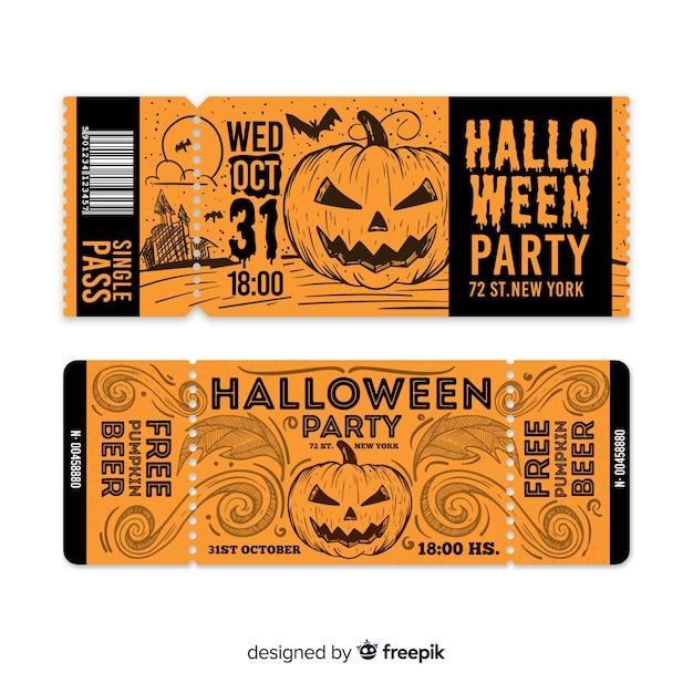 Creative halloween ticket template Free Vector