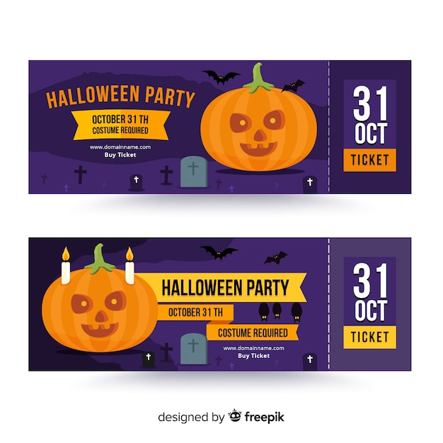 Creative halloween ticket template Free Vector