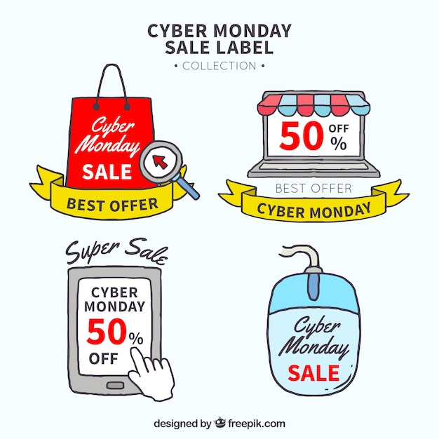 Creative hand drawn cyber monday labels Free Vector