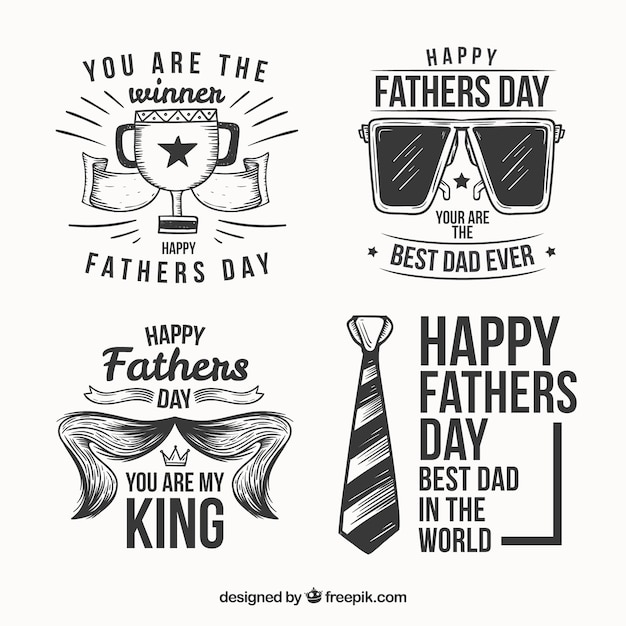 Creative hand drawn fathers day labels