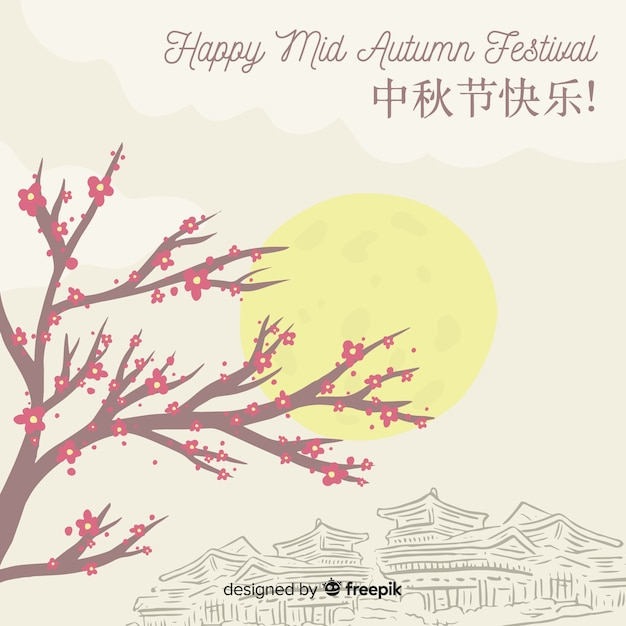 Creative hand drawn style background for mid autumn festival Free Vector