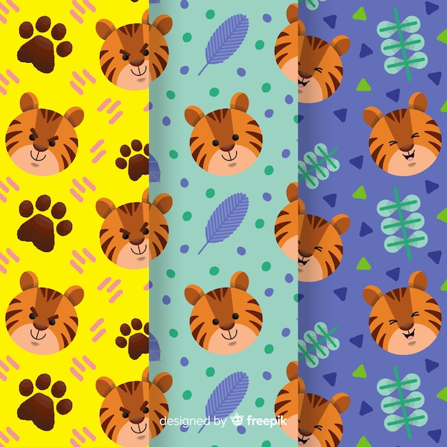 Creative hand drawn tiger pattern Free Vector