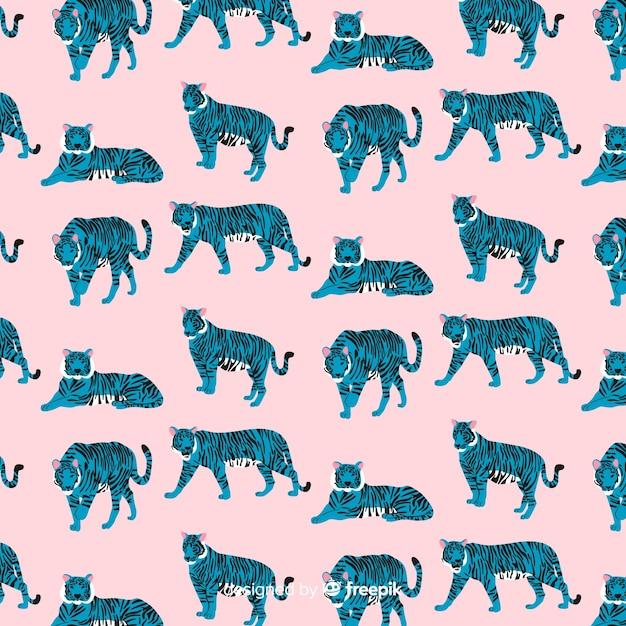 Creative hand drawn tiger pattern Free Vector