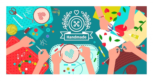 Creative handmade workshop banner Premium Vector