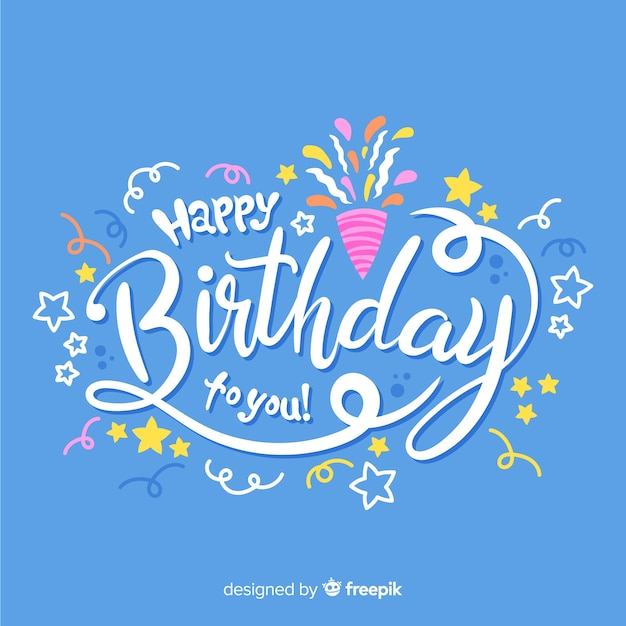 Creative happy birthday lettering background Free Vector
